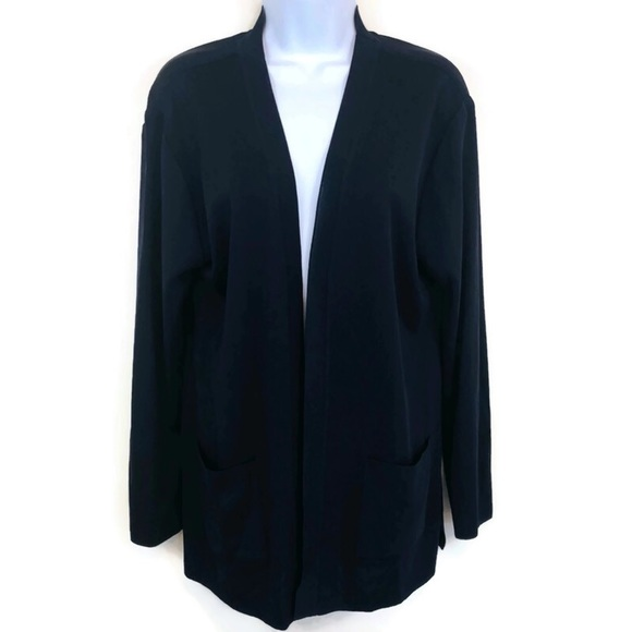 Misook Jackets Coats Misook Navy Blue Knit Open Front Cardigan Jacket S Poshmark